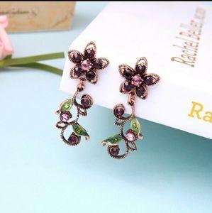 Plum crystal flower earrings